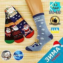 """Шкарпетки жіночі новорічні махрові високі """"Слід Лева"""" 36-39р снігуронька асорті 20040222"""