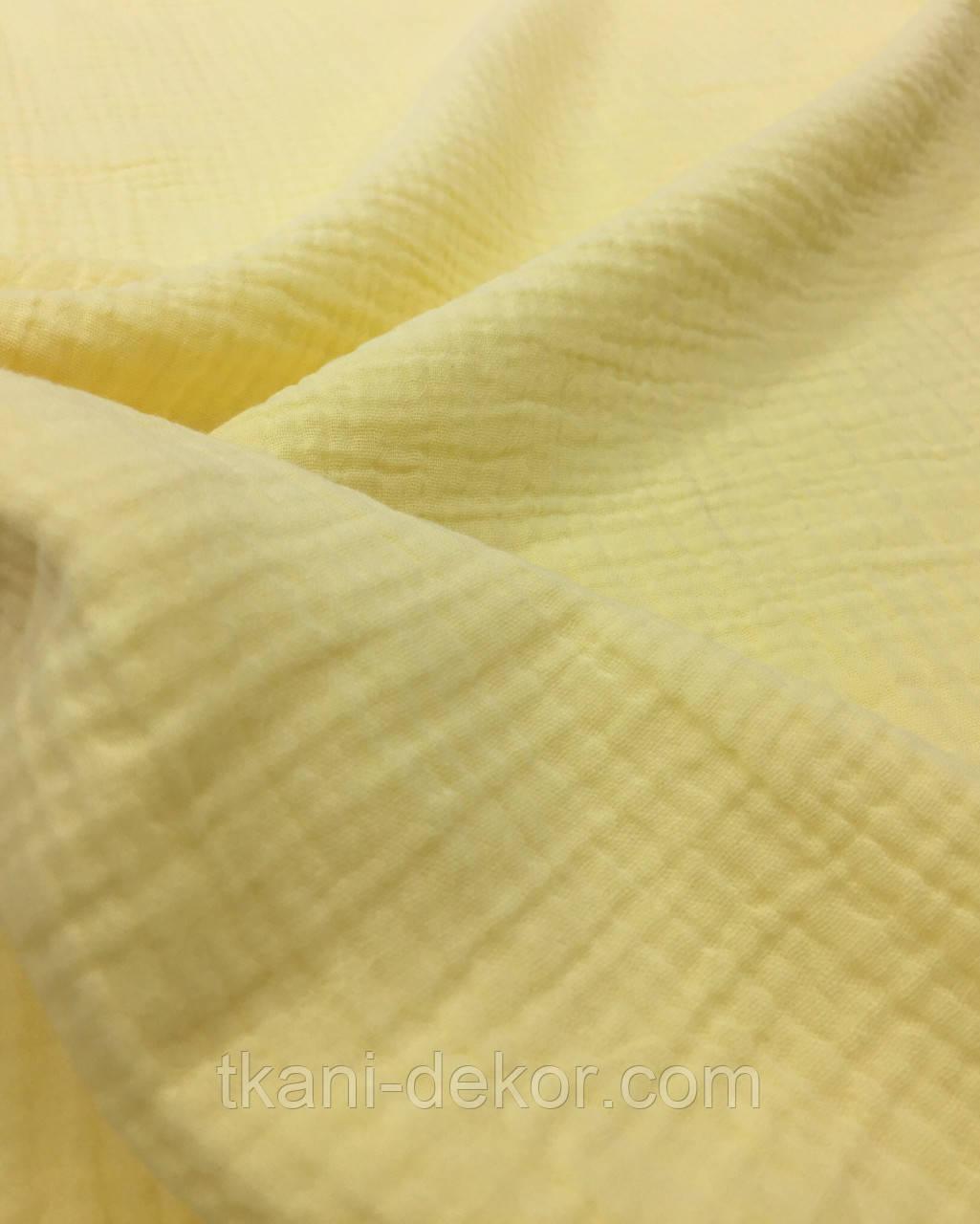 Муслин (хлопковая ткань) жатка лимон однотон (ширина 1,35 м) (50*135)