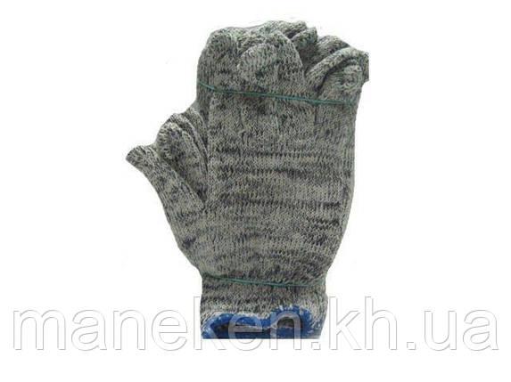 Господарські щільні рукавички Х/Б сірі (10кл/3н) (10 пар), фото 2