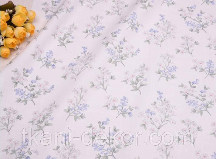 Сатин (хлопковая ткань) цветущая веточка на молочном (85*160)