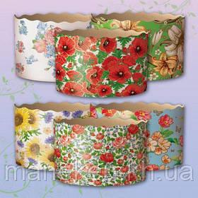 Формы бумажные для кулича (85*130) Цветы(400гр) (50 шт)