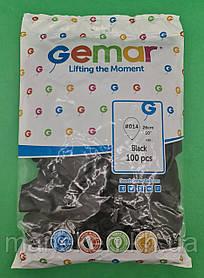 """Надувные шары пастель черный 10"""" (25 см) Gemar 100 шт (1 пачка)"""