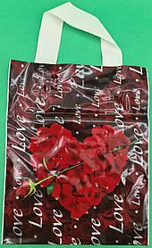 """Пакет ламінований з петлевою ручкою м """"Серце з трояндою"""" (23х29) 50мк ДПА (50 шт)"""