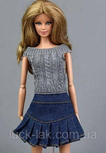 Набор юбка джинсовая и кофта вязанная серая для шарнирной куклы для BJD 1/6, 26-30 см, для Барби