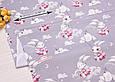 Сатин (хлопковая ткань) зайчики на качелях (серый фон) (75*160), фото 2