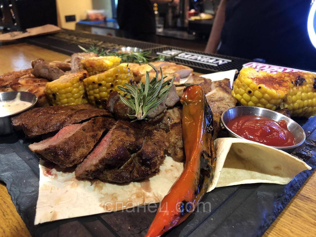 Сланцевое блюдо 50х30 см с желобом