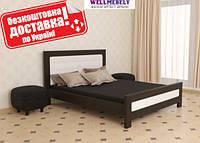 Кровать деревянная двуспальная Бьянка с мягкой спинкой