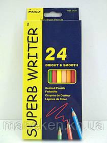 """Набір кольорових олівців 24 кольори """"SUPER WRITER"""" Marco 4100-24CB (1 пач.)"""