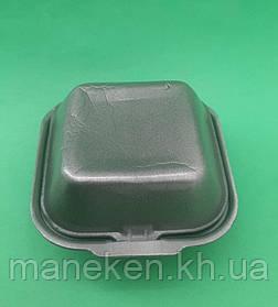 Ланч-бокс з спіненого полістиролу з кришкою (123*133*78) Чорний HP-7 (250 шт)