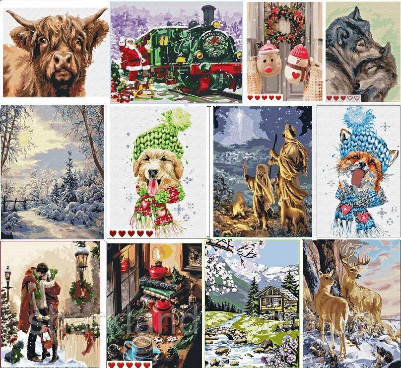 199 грн! Разные зимние картины по номерам Новый год Рождество Зимний пейзаж Выбирайте по ссылкам в описании