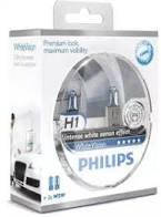 Лампа фары H1 + W5W WhiteVision ultra 12V 55W P14,5s (+60%) (3700K)(Philips)