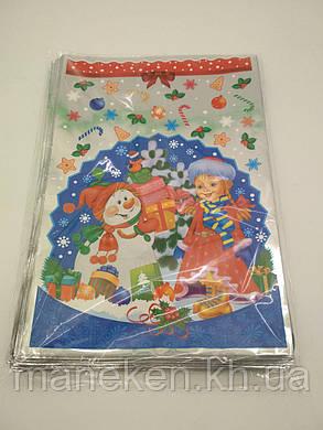 Фольгированный пакет Н.Г (20*30) №04 Снегурочка и снеговик (100 шт), фото 2