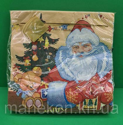 Праздничная салфетка (ЗЗхЗЗ, 20шт) LuxyНГ Дед мороз и медвежонок(1230) (1 пач), фото 2
