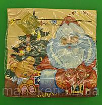 Праздничная салфетка (ЗЗхЗЗ, 20шт) LuxyНГ Дед мороз и медвежонок(1230) (1 пач), фото 3