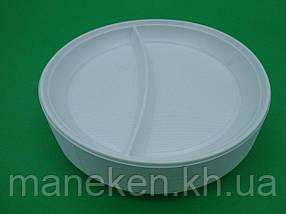 Тарілка 2-х секційна пластикова діаметр 205мм (100 шт)