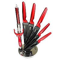 Набор ножей на подставке А-Плюс красный 8 ед., фото 1