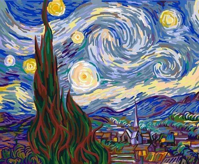 Картина рисование по номерам Ван Гог. Ночь E135 Вектор 40х50см в коробке, расскраска по номерам репродукция