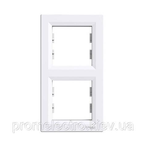 Рамка Schneider-Electric Asfora 2-постовая вертикальная белая (EPH5810221), фото 2