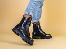 Ботинки женские кожа питон черные зимние