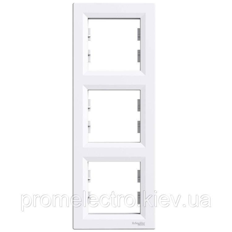 Рамка Schneider-Electric Asfora 3-постовая вертикальная белая (EPH5810321)