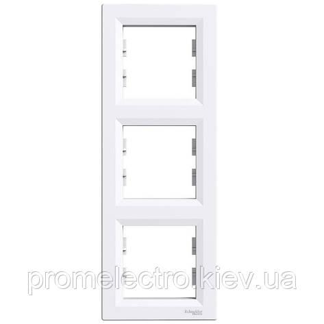 Рамка Schneider-Electric Asfora 3-постовая вертикальная белая (EPH5810321), фото 2