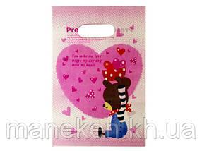 Пакет с вырубной ручкой Подарочный (20*28) №12 китай (100шт) (1 пач)