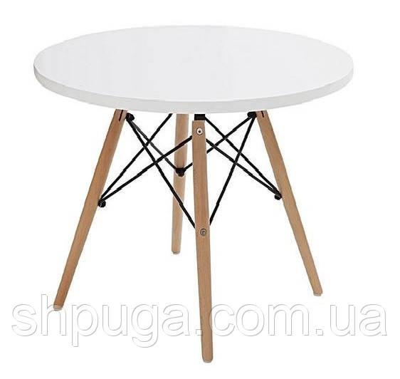 Стол обеденный Тауэр вуд  дерево, бук, диаметр 100 см, цвет белый