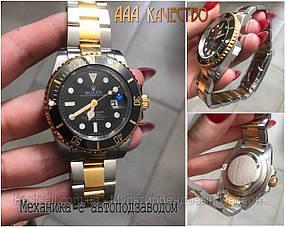 Часы мужские наручные механические с автоподзаводом  Rolex Submariner AAA Date Silver-Gold реплика ААА класса