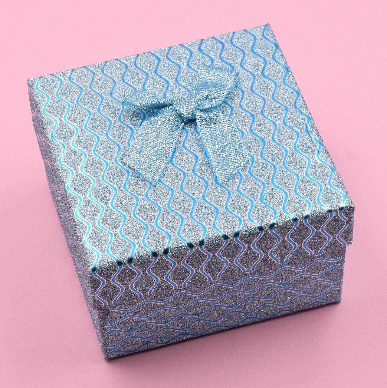 Коробочка бирюзовая для кольца серег 741185 размер 9х9 см