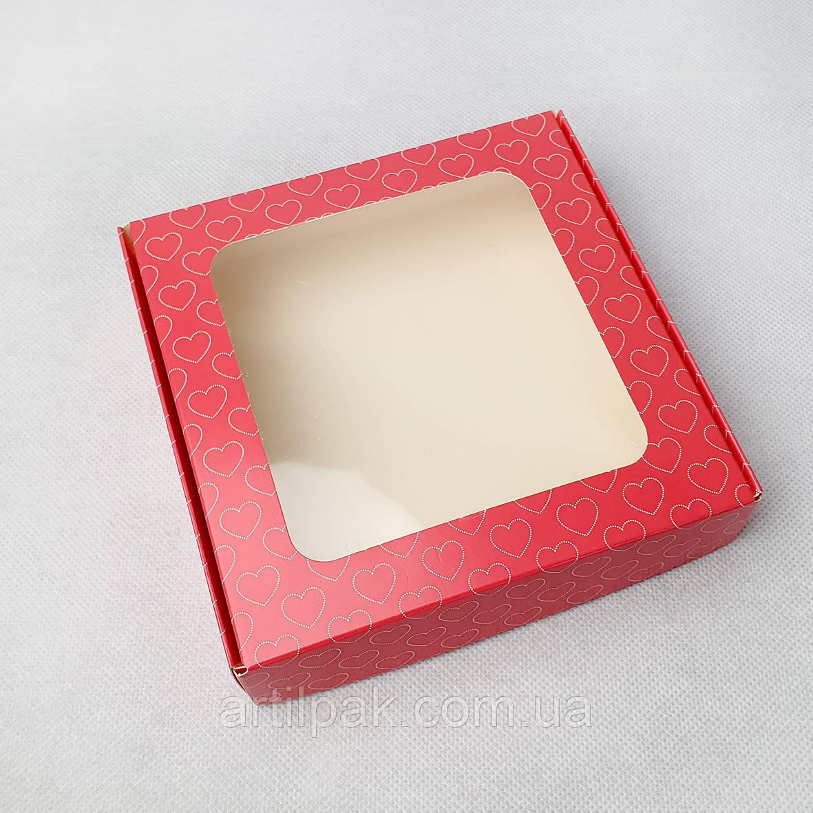 Коробка 150*150*35 з вікном РОЖЕВІ СЕРЦЯ