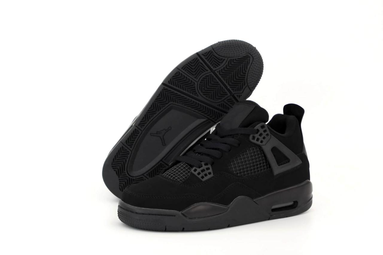 Баскетбольные мужские высокие кроссовки Nike Air Jordan Retro 4 Black (Найк Аир Джордан Ретро в черном цвете)