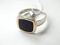 Серебряное кольцо с золотой вставкой и авантюрином, фото 1