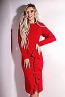 Женское красное платье с воланами, фото 1