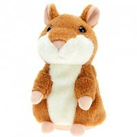 Говорящий хомяк повторюша интерактивная мягкая игрушка детская повторюшка коричневый