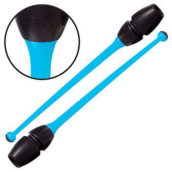 Булави гімнастичні Lingo 45см (C-0963) блакитний/чорний