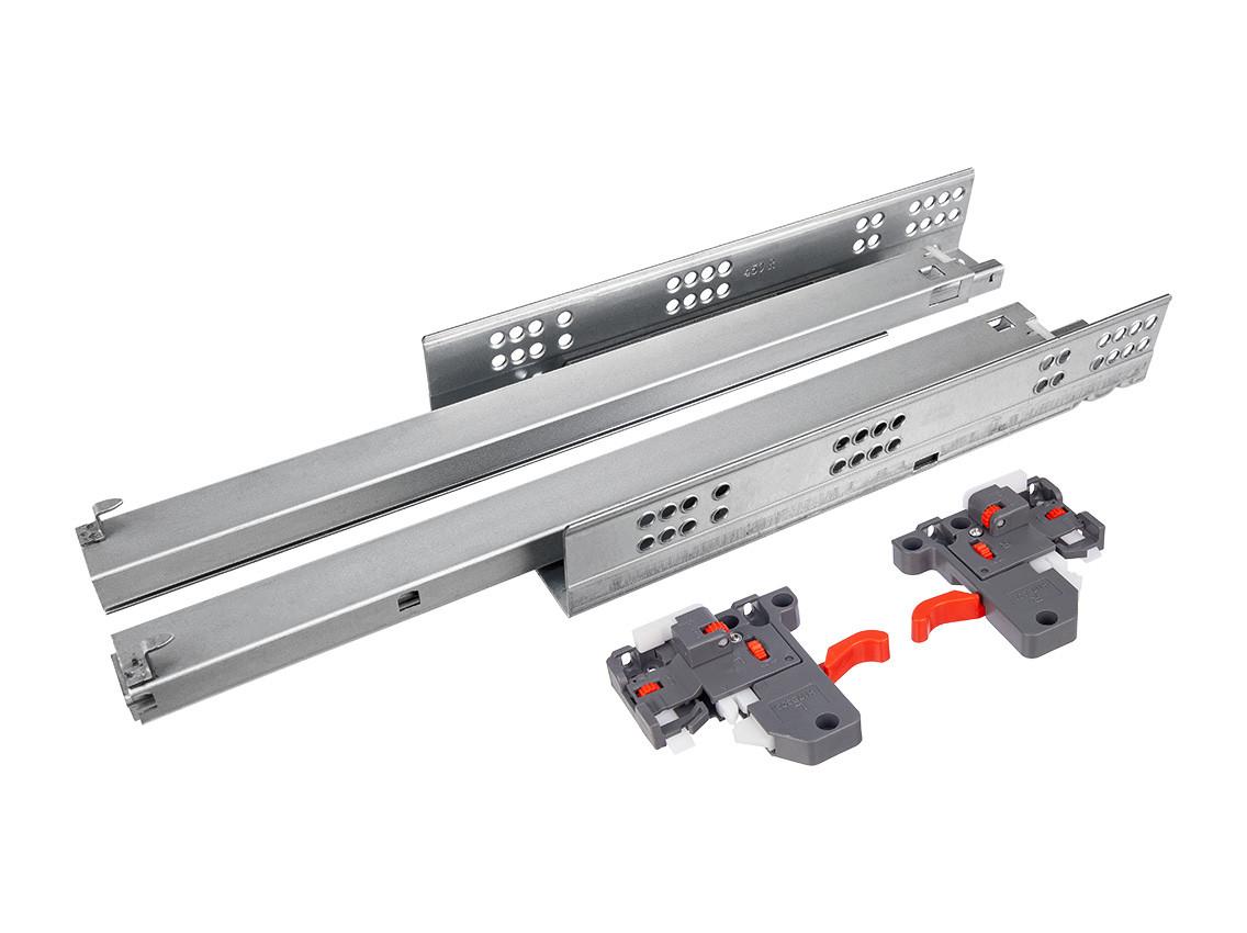 Меблеві напрямляющі прихованого монтажу повного висунення з відштовхувачем Clip 3D GIFF PRIME (для ДСП 18 мм)