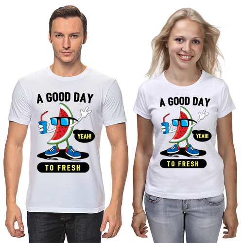 """Парные футболки с принтом """"A good day"""" Push IT"""