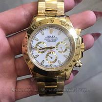 Часы мужские наручные механические с автоподзаводом Rolex Daytona Metal Automatic Gold-Whit реплика ААА класса, фото 2