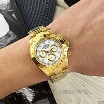 Часы мужские наручные механические с автоподзаводом Rolex Daytona Metal Automatic Gold-Whit реплика ААА класса, фото 3