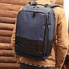 Рюкзак мужской городской спортивный с usb черно-синий