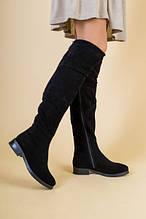 Женские зимние черные замшевые ботфорты 36