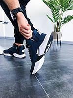 Термо кроссовки мужские Nike Huarache Winter Acronym Navy Blue / Найк Хуарачи синие
