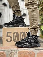 Мужские зимние кроссовки Adidas Yееzy Boost 500 High / Адидас Изи Буст 500 черные с мехом