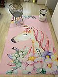 """Безкоштовна доставка! Килим в дитячу """"Єдиноріг у квітах на рожевому тлі""""(1.6*2.3 м), фото 5"""