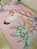 """Безкоштовна доставка! Килим в дитячу """"Єдиноріг у квітах на рожевому тлі""""(1.6*2.3 м), фото 6"""