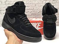 Nike Air Force Winter Black кроссовки мужские зимние Найк Аир Форс черные с мехом