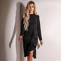 Женское чёрное платье с воланами, фото 1