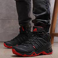 Мужские зимние кроссовки Adidas Terrex Gore Tex Black / Адидас черные с красным, натуральный мех