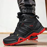 Мужские зимние кожаные кроссовки Adidas Terrex All Black Red / Адидас черные с красным, натуральный мех