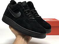 Кроссовки мужские зимние Nike Air Force Winter Black. Кроссовки мужские Найк Аир Форс черные с мехом замшевые